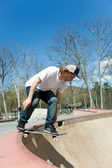 Skateboarder Falling Into the Bowl at the Skate Park — Stock Photo