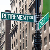 Retirement Golf Street Signs — Stock Photo