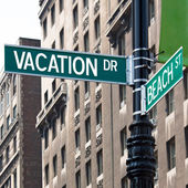 Vacation Street Corner Signs — Stock Photo