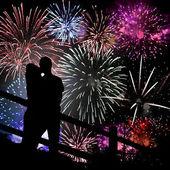 Fireworks Silhouette — Stock Photo
