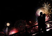 Fireworks Couple Silhouette — Stock Photo