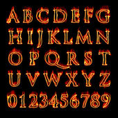 Flaming Alphabet and Numbers — Stock Photo