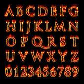 Flaming alfabet en cijfers — Stockfoto
