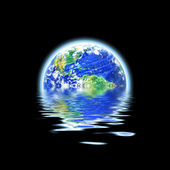 Global Warming Flooded Earth Illustration — Stock Photo