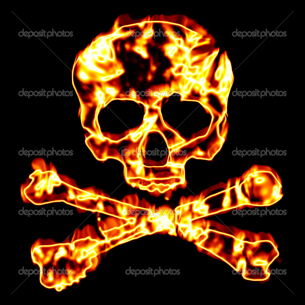 A flaming skull and crossbones illustration isolated over black. — Stock Photo #9241363
