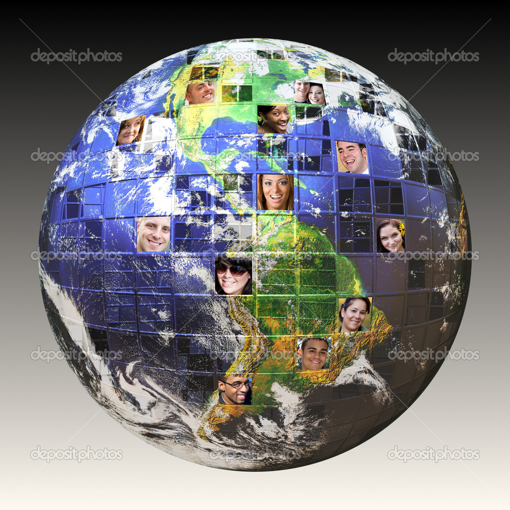 Montage of the earth with a global network of from all walks of life on different continents isolated over white.  Clipping path included. Earth photo co — Stock Photo #9241416