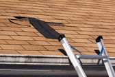Damaged Roof Shingles Repair — Stock Photo