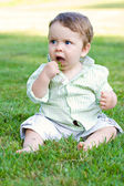 Baby Eating Grass — Stock Photo