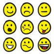 Emoticon Smiley Face Doodles — Stock Vector
