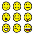 Stock Vector: emoticon smiley face doodles