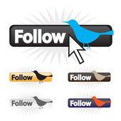 Follow Bird Icons — Stock Vector