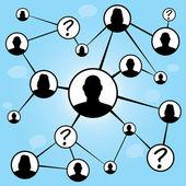 Sociální média přátel graf — Stock vektor