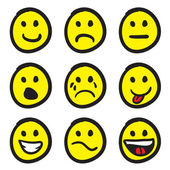 Emoticon Smiley Face Doodles — Vetor de Stock