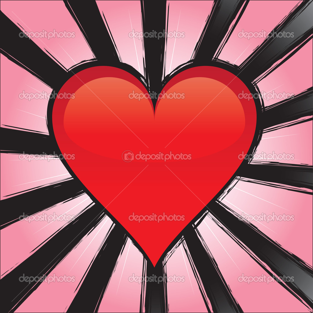 A perfect glossy heart over some burting rays in a grunge style.  All of the elements in this vector are fully editable. — Stock Vector #9294886