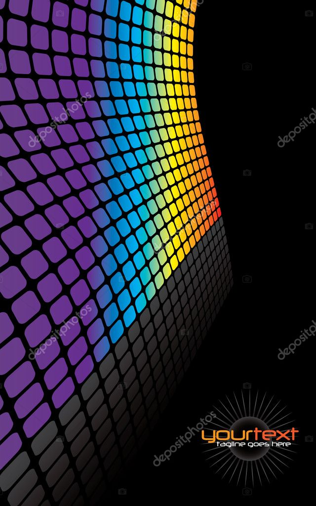 A rainbow colored wall vector illustration with reflections and copyspace. — Stock Vector #9295684