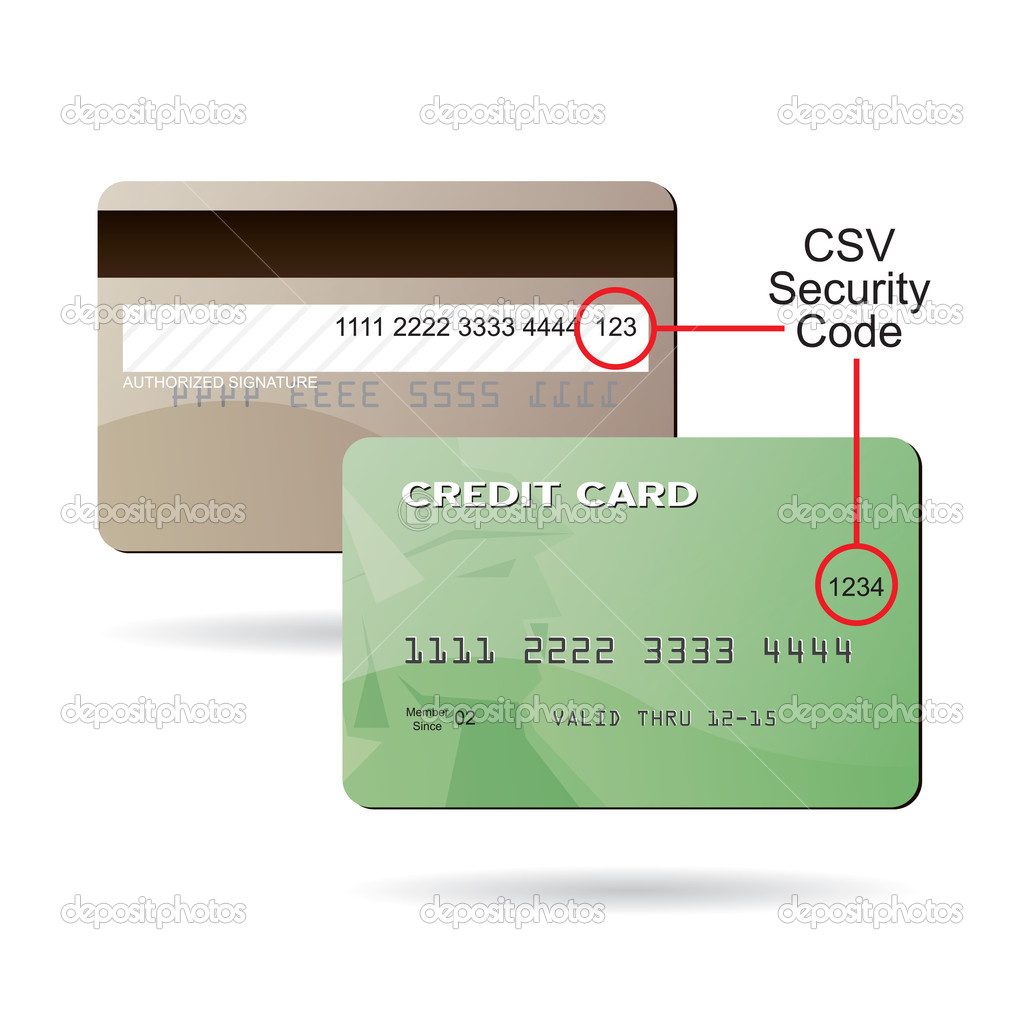 Clip art diagram of where the CSV security code is located on a typical credit card. This EPS 10 vector is fully customizable to suit your needs. — Stock Vector #9295760