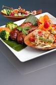 Thai Sausage with Som Tum Salad — Stock Photo