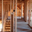 Unfinished Home Framing Interior - Stock Photo