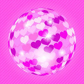 Discoball with hearts — Stock Vector