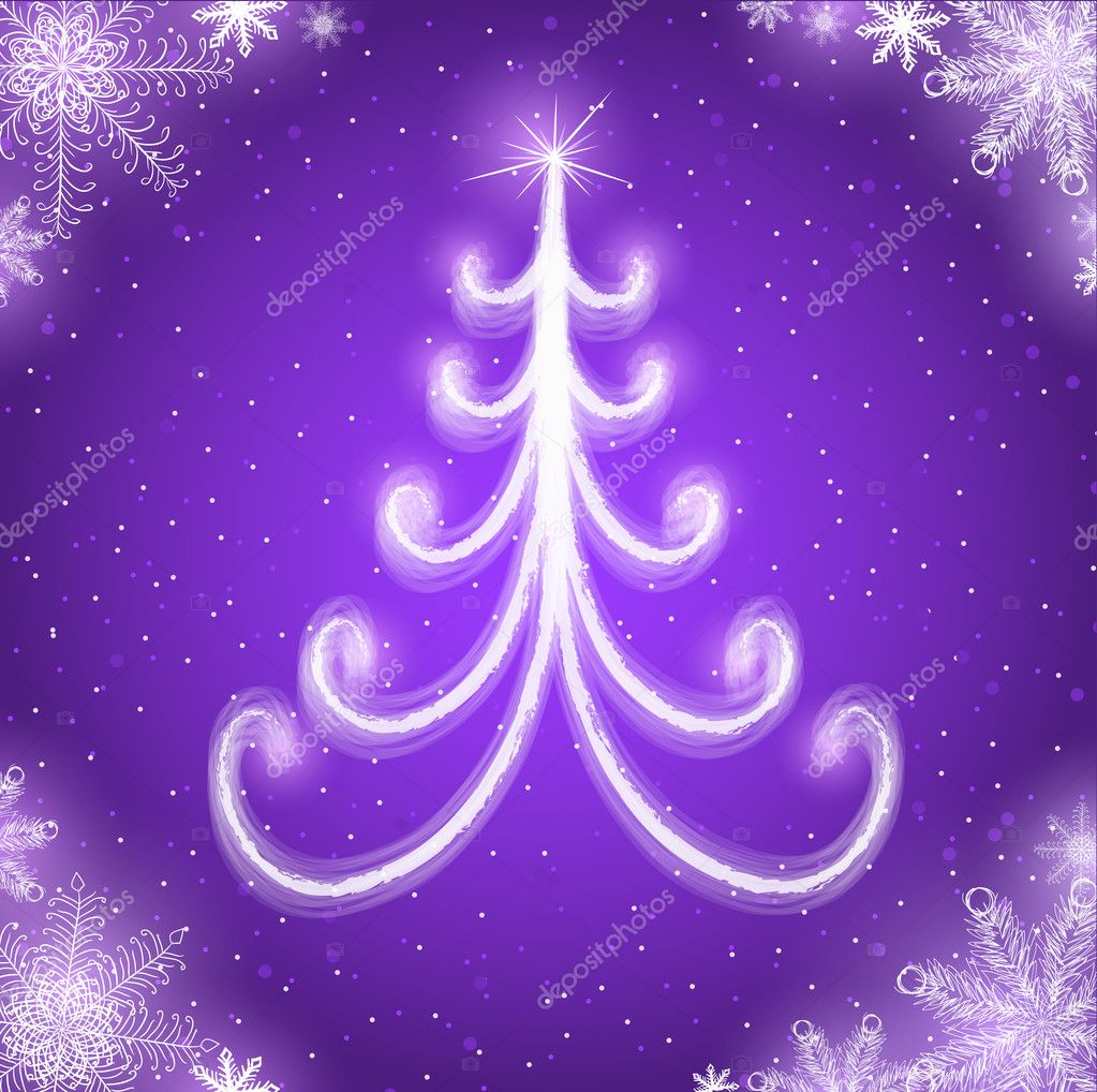 Purple New Year card with Christmas tree — Stock Vector #8020050