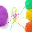 A few balls of colourful bright thread — Stock Photo