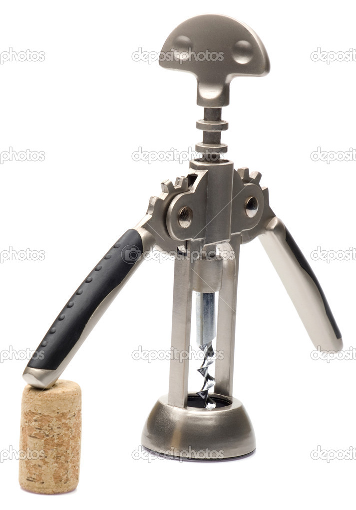 An installation of a corkscrew and a cork itself as an object of art  Stock Photo #9702444