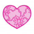 Lace heart pink applique — Stock Vector