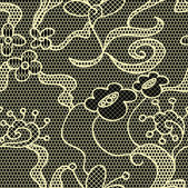 Black lace vector fabric seamless pattern — Stock Vector