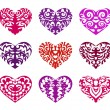 Stock Vector: Set of tattoo hearts