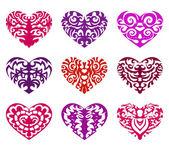 Set of tattoo hearts — Stock Vector
