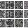 Set of 12 monochrome modern seamless patterns — 图库矢量图片