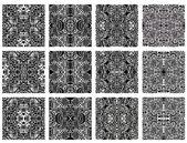 Set of 12 monochrome modern seamless patterns — Stock Vector