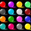 Glass spheres on black backdrop - Stock Vector