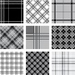 Black and white plaid patterns set — Stock Vector