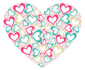 Knitted vector background with pink heart — Stock Photo