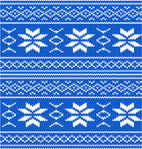 White and blue knitted seamless pattern — Stock Vector