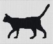 Silhouette of cat from knitted texture — Stock Vector