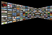 Media Room in black — Stock Photo