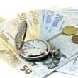 Euro banknotes and antique clock — Stock Photo #8412245