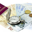 Spanish passport, money, clock — Stock Photo