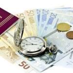 Spanish passport, money, clock — Stock Photo #8412280