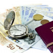 Spanish passport, money, clock — Stock Photo #8412302