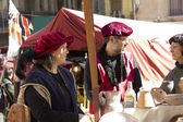 Medieval Fair, nobles in the market — Stock Photo