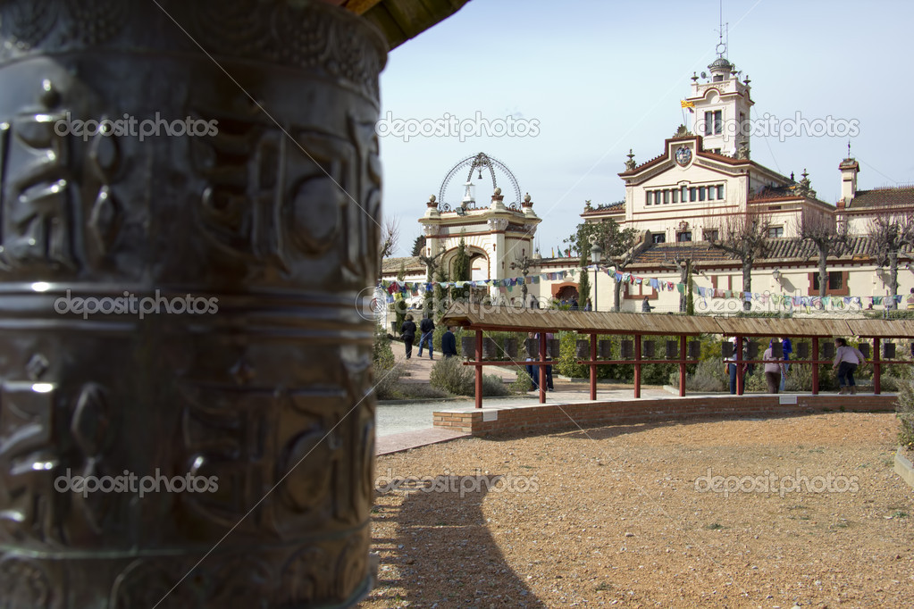 Prayer wheels in buddhist temple  of Sakya Tashi Ling, (Spain) — Stock Photo #9358221