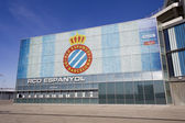 Box office of RCD Espanyol stadium and shield — Stock Photo