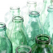 Stock Photo: Old green glass bottles