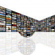 Media Room in perspective with globe — Stock Photo #9767566