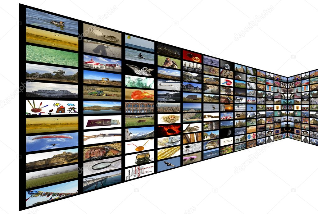 Media room with plasma TV on perspective, white background  Stock Photo #9767672