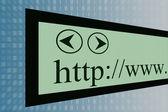 интернет-браузер и направление стрелки — Стоковое фото