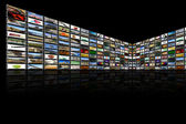 Media Room in black and reflection — Stock Photo